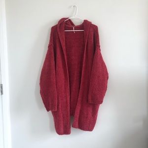 Free People Pink/Red Oversized Fuzzy Cardigan